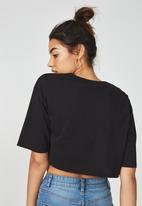 Supré  - V-neck boxy crop - black