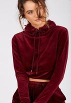Supré  - Velour hoodie - burgundy