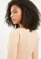 Missguided - Bandage square neck midi dress - beige