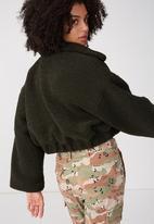 Supré  - Cropped teddy jacket - khaki