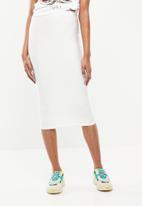 Missguided - Shiny rib co ord pencil skirt - white