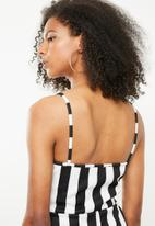 Missguided - Wide stripe playsuit - black