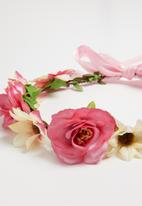 Jewels and Lace - Flower hair crown - pink