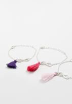 Jewels and Lace - Infinity tassel friendship 3 pack bracelet - silver