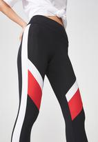 Factorie - Colour block panelled legging - black & white