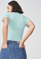 Factorie - Short sleeve quarter zip top - green & white