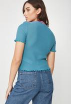Factorie - Short sleeve beetroot - turquoise
