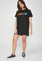 Factorie - T-shirt dress with mesh panel - black