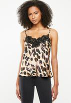 Missguided - Eyelash trim lace cami - brown