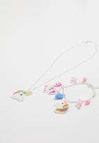 Jewels and Lace - Unicorn necklace and bracelet set - silver