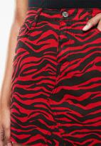 Missguided - Zebra print skirt- red
