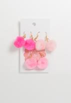 Jewels and Lace - Pom pom earrings multi pack - pink