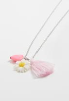 Jewels and Lace - Daisy tassel necklace - silver