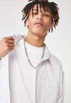 Factorie - Long sleeve over shirt - white & grey