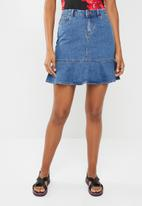 Noisy May - Sejla peplum denim skirt - blue