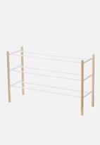 Yamazaki - Plain extendable shoe rack 3 tier - white