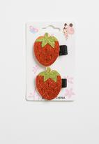 POP CANDY - Strawberry hairclips - red