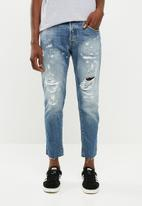 Jack & Jones - Frank leen cut off jeans - blue