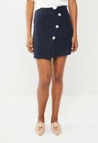 Superbalist - Wrap mini with button detail - navy
