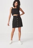 Cotton On - Woven halle mini skirt - black