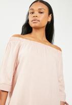 edit - Bardot shift dress with sleeves - pale pink