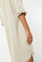 edit - Bardot shift dress with sleeves - stone