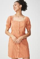 Cotton On - Woven broderie baby doll dress - peach