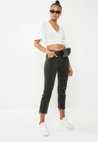New Look - Pinstripe top - white