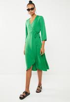 Vero Moda - Scarlet 3/4 wrap calf dress - green