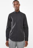Superbalist - Slim mandarin shirt - black