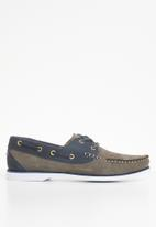 STYLE REPUBLIC - Classic leather boat shoes - taupe & navy