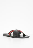 STYLE REPUBLIC - Stripe criss cross sandals - black & red