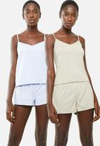 Superbalist - 2 pack sleep cami - blue & beige