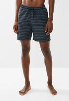 Superbalist - Basic elasticated stripe swim shorts - black & blue