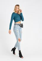 Supré  - Luxe cross over long sleeve top - blue