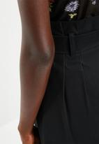 Superbalist - Button detail paperbag mini skirt - black
