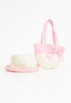 Superbalist - Kids girls 2 pack straw hat/bag - pink