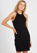 Supré  - Rib cutaway mini dress - black