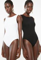 Superbalist - 2Pack boatneck bodysuit - black and white