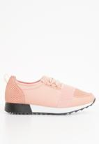 Truffle - Lace mesh lace-up sneakers -pink