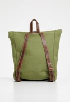 Superbalist - Utility canvas and leather backpack - khaki green