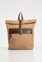 Superbalist - Utility canvas and leather backpack - beige