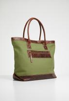 Superbalist -  Hold all tote canvas and leather tote - khaki green