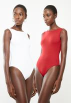 Superbalist - 2 pack boatneck bodysuit - red & white