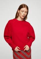 MANGO - Ole puffed-shoulder sweater - red