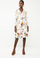Revenge - Dark floral faux wrap dress - white