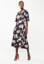 Revenge - Floral print maxi wrap dress - navy