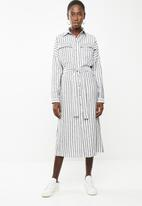 Superbalist - Midi length shirt dress - blue and white