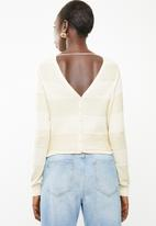 Vero Moda - Francine long sleeve button back cardi - cream
