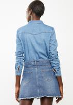 Vero Moda - Maria long sleeve denim slim shirt - blue